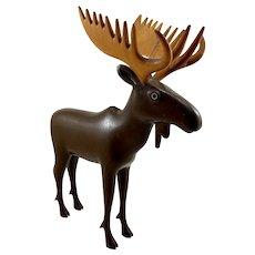Hand Carved Folk Art Moose