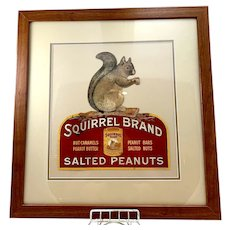 Squirrel Brand Salted Peanuts Framed Cardboard Sign
