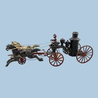 Hubley Cast Iron Two Horse Fire Pumper