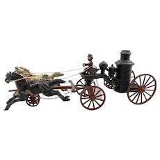 Hubley Cast Iron Two Horse Fire Pumper