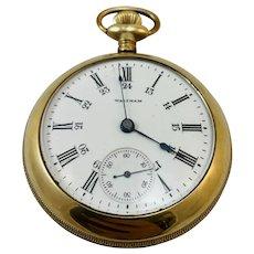 Vintage Waltham Gold Filled Open Faced Pocket Watch