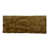 Vintage Hand Carved Box with Embossed Beaver