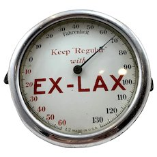 Ex-Lax Round Thermometer - Porcelain Face