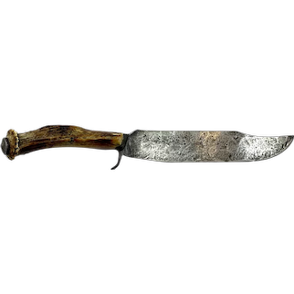 Early Clip Point Bowie Knife with Stag Grip & Pewter Cap