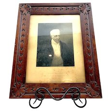 Hand Carved Folk Art Picture Frame