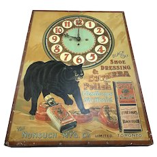 Black Cat Shoe Polish Clock