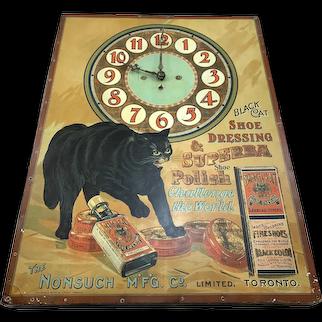 Black Cat Shoe Polish Clock