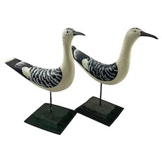 2 Hand Carved Shore Birds