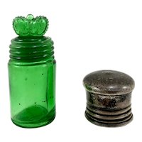 Green Smelling Salts Bottle w/ Crown Stopper & Sterling Silver Top