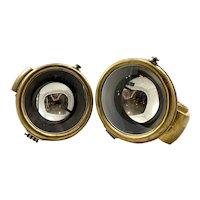 Antique Brass Era Carbide Head Lamp Set
