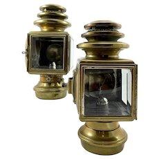Vintage Brass Era Automobile Lamp Pair