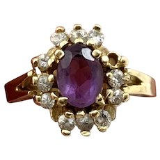 10KT Gold Ring with Floral Design & Purple & Clear Faux Stones