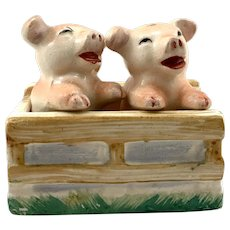 Occupied Japan Pig Salt & Pepper Shakers w/Holder