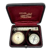 Antique Brass Compensated Pocket Barometer/Altimeter with Thermometer and Compass