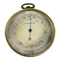 Antique Brass Compensated Pocket Barometer/Altimeter with Original Case
