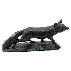 Bronze Fox Sculpture - signed