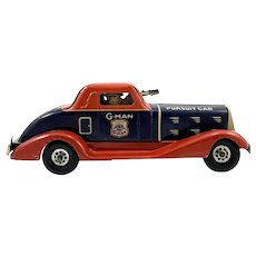 1935 Marx Wind-up G-Man Toy Pursuit Car