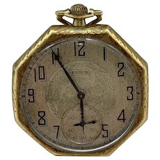 Antique 1925 Elgin Pocket Watch 14K GF Case