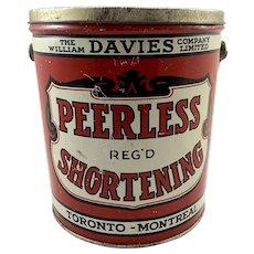 Vintage Peerless Shortening Tin