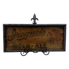 Iroquois Indian Head Beer Framed Crate Side c. 1900