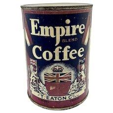 Rare T. Eaton Empire Coffee Tin 1 Lb.