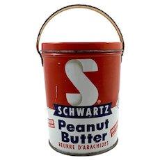 Vintage 2lb Schwartz Peanut Butter Tin Pail