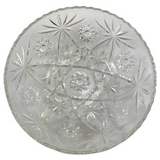 Vintage Cut Glass Bowl with Star Geometric Pattern