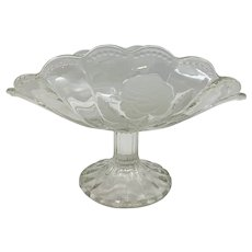 Vintage Cut Glass Floral Bowl on Pedestal