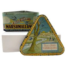 Rare 1920's Blue Bird Marshmallow Triangular Tin Harry Horne - Toronto