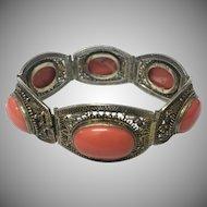 Amazing vintage Chinese Gilt Silver Filigree Coral Bracelet