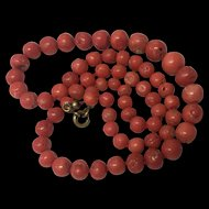 Vintage Art Deco Era Graduated Salmon Coral Bead Necklace