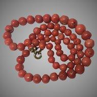 Vintage Art Deco Era Graduated Salmon Coral Bead Necklace
