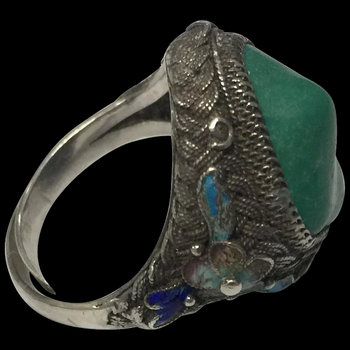 Vintage Chinese Enamel Filigree Silver Turquoise Adjustable Ring : Astro Vintage  Jewelry | Ruby Lane