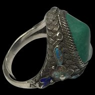 Vintage Chinese Enamel Filigree Silver Turquoise Adjustable Ring