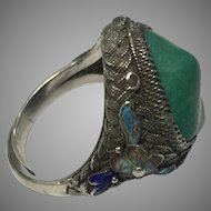 Vintage Chinese Enamel Filigree Silver Turquoise Adjustable Ring