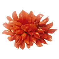 Vantage 10K Carved Coral Brooch / Pin