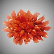 Vantage 10K Carved Coral Brooch / Pin