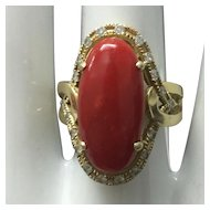 Vintage 14K Yellow Gold Dark Red Coral and Diamond Ring