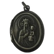 Vintage Queen Mary with Baby Jesus Design Silver Over Brass Miniature Snuff / Pill Box Pendant