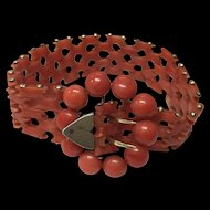 Antique Victorian Gilt Mediterranean Dark Salmon Red Coral Bracelet 7 1/8""