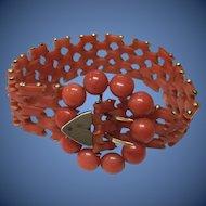 """Antique Victorian Gilt Mediterranean Dark Salmon Red Coral Bracelet 7 1/8"""""""