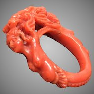 Fabulous Antique Hand Carved Natural Dark Salmon Coral Ring Size 7