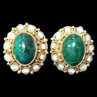Beautiful Vintage Gilt Filigree Genuine Malachite Oval Cocktail Earrings