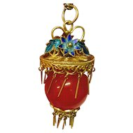 Vintage Chinese 14k Yellow Gold Filigree Enamel with Carnelian Ball Pendant
