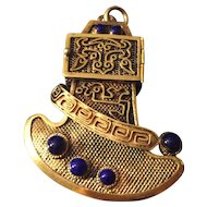 Rare Antique Chinese Export Gilt Silver Filigree Poison Locket with Lapis lazuli Pendant