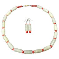 Antique Chinese Hand Carved Bamboo Shape White Jade Beads with Red Coral Necklace and Earrings Set