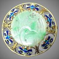 Vintage Chinese 14K Yellow Gold Enamelled Carved Jadeite Jade Pendant Brooch 8.62 Grams