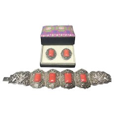 Antique Chinese Silver Coral Bracelet and Earrings Set