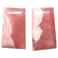 Beautiful Pink Rhodochrosite Trapezoid Shaped Gemstone Earrings