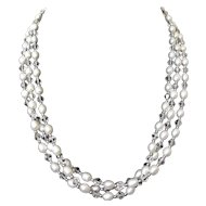 Three Strands Cultured Freshwater Pearl with Crystal Beads Necklace